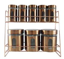 Porta Condimentos Cobre de Vidro e Inox com Suporte 08 Potes - Drina