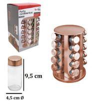 Porta Condimentos com 20 Vidros de 80 ml + Suporte de Inox Giratório Rose Gold - Kopeck -