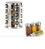 Porta Condimentos e Tempero 16 Potes de Vidro com Tampa Inox - Kit Girl