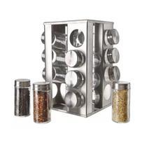 Porta Condimentos e Tempero 16 Potes de Vidro com Tampa Inox - Reparocell