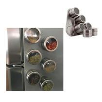 Porta Condimentos E Tempero Magnético em Inox com 6 Potes Com Imã para geladeira - Spice Rack