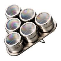 Porta Condimentos E Temperos 6 Potes Magnéticos Em Aço Inox E 1 Suporte Triangular -