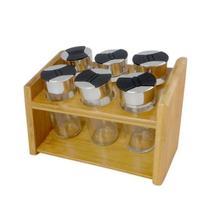 Porta condimentos em bambu com 6 potes de vidro com tampa - Dynasty