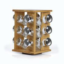 Porta condimentos giratório em bambu com 12 potes de vidro com tampa - Welf