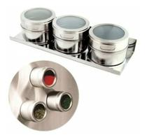 Porta Condimentos Magnético 3 Peças Aço Inox Com Imã - La Vie Presentes