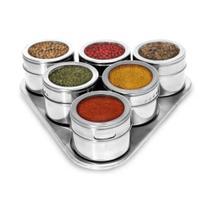 Porta Condimentos Magnético em Inox com 6 Potes Com Imã e suporte inclinado - Spice Rack