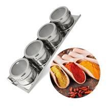 Porta Condimentos Magnético Inox C 4 Potes De Temperos + Imã - Wincy