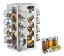 Porta Condimentos Temperos Giratório 16 peças em Vidro e Inox - Impk