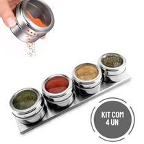 Porta Condimentos Temperos Magnético Em Inox 4 Pote com Imã - Intep