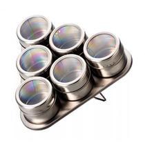 Porta Condimentos Temperos Magnéticos 6 Potes Inox - Bazar Bom