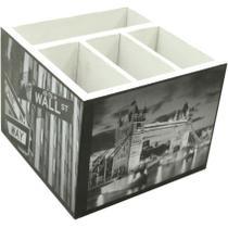 Porta Controle 4 Divisões Cidades 12 x 12 cm Branco - Kapos