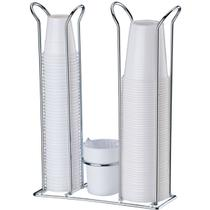 Porta Copos Descartáveis 200 ml e 50/80 ml Com Porta Colheres Cromado - Branco - Future