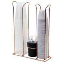 Porta Copos Descartáveis 200ml e 50/80ml Porta Mexedores - Rosé Gold - Future
