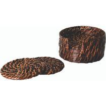 Porta Copos em Rattan 06 Peças Com Suporte 12 X 6 cm Rústico Mesa Posta Chique - Mdart