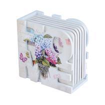 Porta Copos Set c/ 7pcs Suporte Home em MDF Hortenses Flowers - House