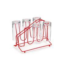 Porta Copos Vermelho Escorredor Suporte Aço Red - ARTHI
