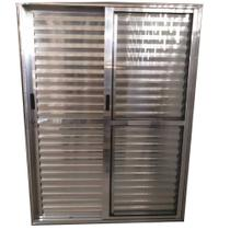 Porta De Alumínio De Correr Balcão 3 Folhas 2,10 X 1,60 Brilhante Linha 25 Com Fechadura - Dc