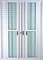 Porta de Alumínio de Correr Balcão 6 Folhas 2,10 x 1,50 Branco Linha 25 Com Chave - All Soft