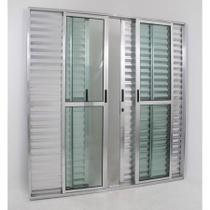 Porta de Alumínio de Correr Balcão 6 Folhas 2,10 x 1,50 Brilhante Linha 25 Com Chave - All Soft