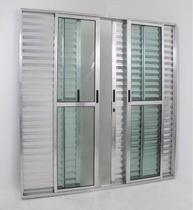 Porta de Alumínio de Correr Balcão 6 Folhas 2,10 x 1,50 Linha 25 Com Chave Cor Brilhante - Linha All Modular