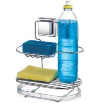 Porta Detergente com Ventosas Sabão e Bucha  Aço Cromado - Arthi