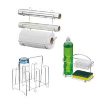 Porta Detergente Suporte Rolo Triplo e Porta Copos Cromado - PASSERINI