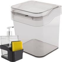 Porta Esponja e Detergente de Pia e Lixeira 3 Litros Bancada Natural - Ou