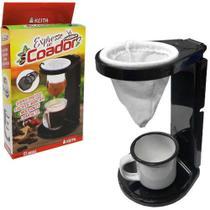 Porta filtro / coador de cafe de plastico com coador de pano flanelado 16,5x10,5x10cm - Keita -