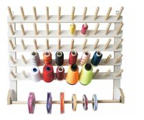 Porta Fio De Madeira Com 50 Cones Suporte Carretel Linha - Tudo Costura