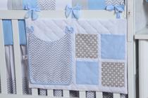 Porta Fraldas de Berço Chevron Chuva de Amor Azul - Bruna Baby