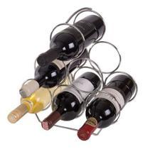 Porta Garrafas De Vinho Aço Carbono Cromado Para 6 Unidades - Domama