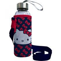 Porta Garrafas Neoprene com Garrafa Plástica Hello Kitty Classical Urban Branco -