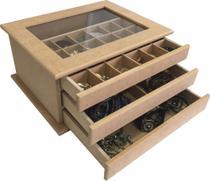 Porta Jóias Mdf Expositor Organizador Bijuterias 3 Gav 29 Div com Vidro - Eleven Decorações -
