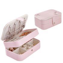 Porta jóias para viagem em couro pu rosa com espelho - Jerry -