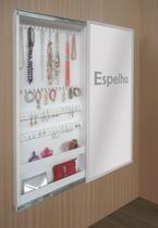 Porta Jóias Perfumes Brincos e Acessórios de Parede com Espelho - Branco - Formalivre