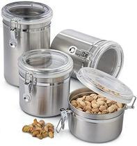 Porta Mantimentos Alimentos Hermético Em Inox Casa Kit C/4 - Dolce Home