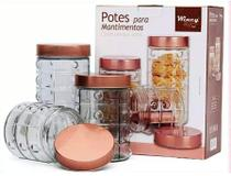 Porta Mantimentos Vidro Tampa Rose Gold Inox 3 Peças - Wincy -