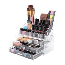 Porta Maquiagem Caixa Organizador Em Acrílico 3 Gavetas - Pgb
