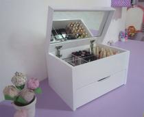 Porta Maquiagem Caixa Organizadora com Espelho - Branco Laca - Formalivre