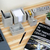 Porta Organizador Porta Treco Caneta Lápis Escritório Cimento 7x7x10 - La Home Presentes