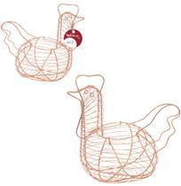 Porta ovos aramado metalizado cobre / rose modelo galinha 28x25cm - Wellmix