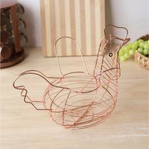 Porta ovos de metal em formato de galinha gold rose 27x24cm - Eu Quero Te Presentear