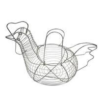Porta ovos de metal em formato de galinha prata 28cm - Eu Quero Presentear