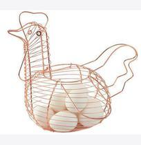 Porta ovos galinha aramado rose gold - Fwb