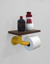 Porta Papel Higiênico Acessório para Banheiro Papeleira Suporte de Parede - Amarelo Laca - Formalivre
