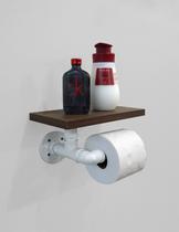 Porta Papel Higiênico Acessório para Banheiro Papeleira Suporte de Parede - Branco Laca - Formalivre