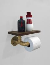 Porta Papel Higiênico Acessório para Banheiro Papeleira Suporte de Parede - Dourado Laca - Formalivre