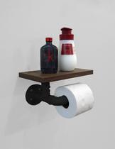 Porta Papel Higiênico Acessório para Banheiro Papeleira Suporte de Parede - Preto Laca - Formalivre