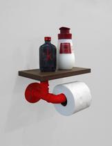Porta Papel Higiênico Acessório para Banheiro Papeleira Suporte de Parede - Vermelho Laca - Formalivre
