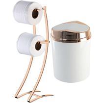 Porta Papel Higiênico de Chão Duplo Lixeira Basculante - Rosé Gold - Wp Connect